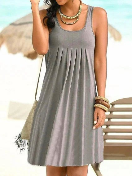 Casual Cotton-Blend Sleeveless Dresses