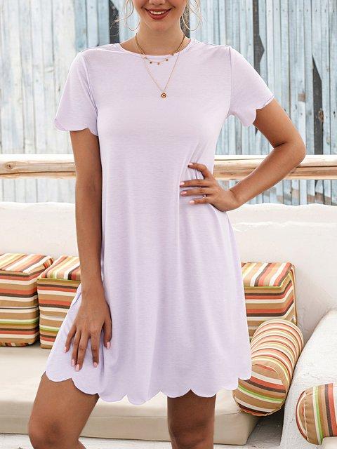 Purple Plain Cotton-Blend Casual Crew Neck Dresses