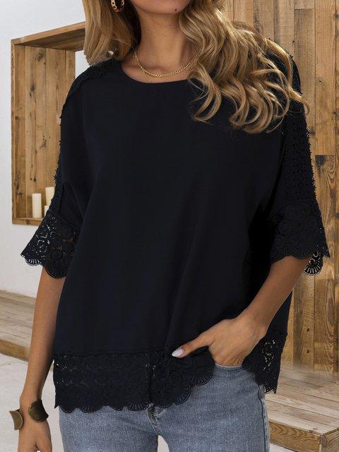 Dark Blue 3/4 Sleeve Plain Cotton Shift Shirts & Tops