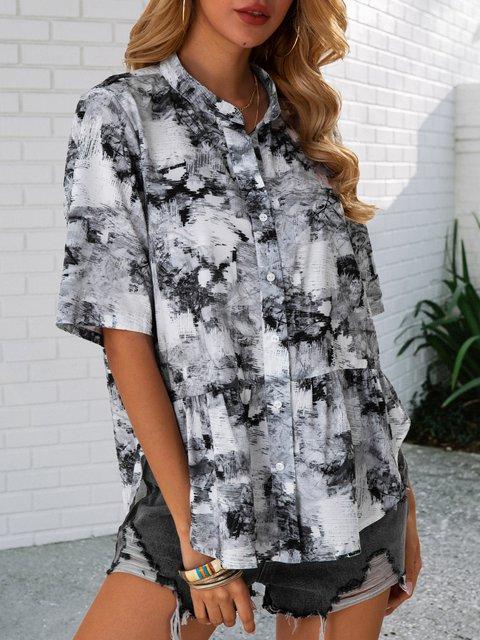 Gray Short Sleeve Linen Geometric Shift Shirts & Tops