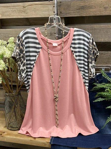Pink Cotton-Blend Crew Neck Short Sleeve Shirt & Top