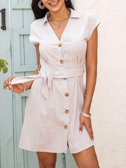 Green V Neck Boho Plain Cotton-Blend Dresses