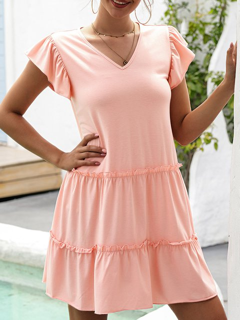 Pink Short Sleeve Casual Dresses