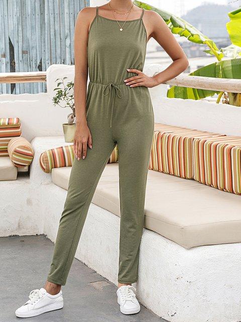 Green Plain Cotton-Blend Casual Pants