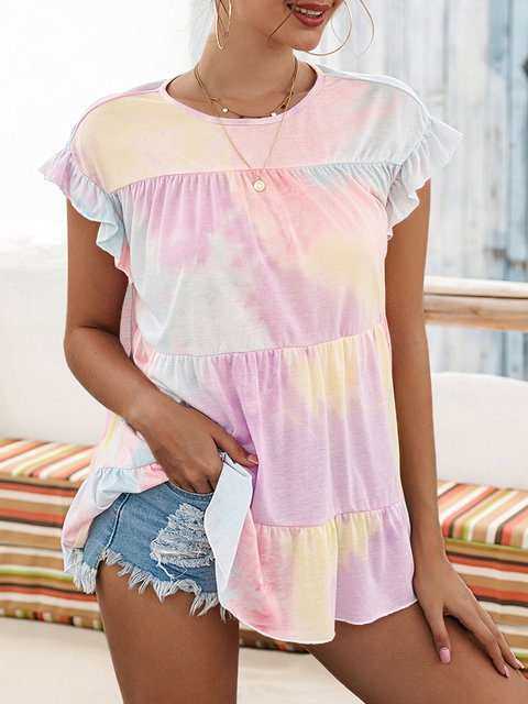 Multicolor Sleeveless Casual Crew Neck Shirts & Tops
