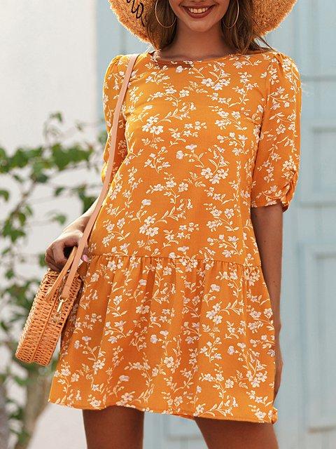 Yellow Floral-Print Short Sleeve Dresses