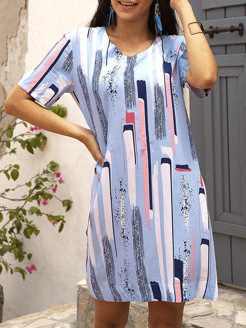 Orange Boho V Neck Geometric Paneled Dresses