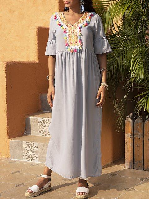 Blue Short Sleeve Holiday Fringed Plain Dresses