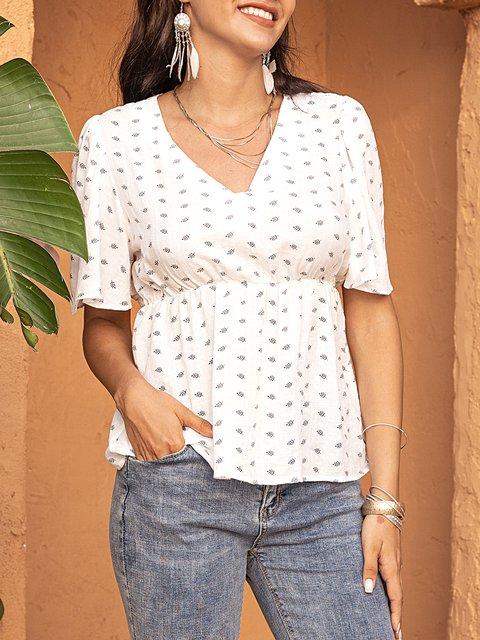 White Cotton-Blend Half Sleeve V Neck Shirts & Tops