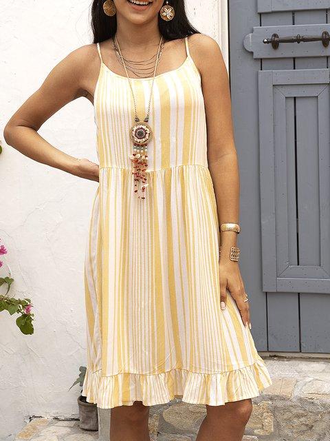 Yellow Spaghetti-Strap Swing Dresses