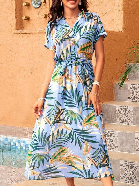 Blue Floral Cotton-Blend Short Sleeve A-Line Dresses