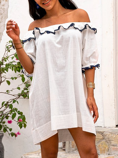 White Casual Cotton-Blend Paneled Shift Dresses