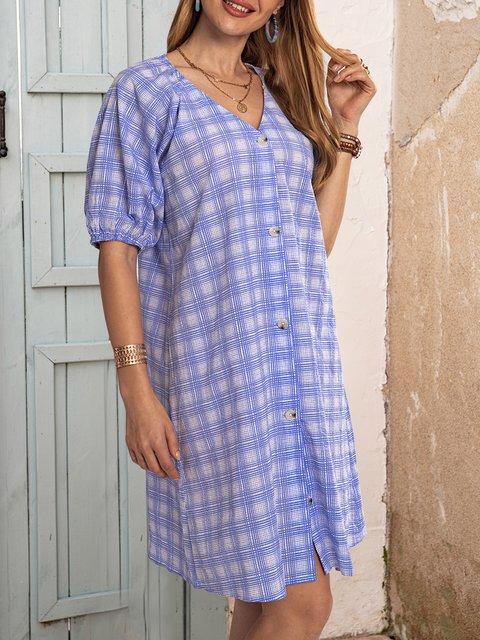 Blue Short Sleeve Checkered/plaid Dresses