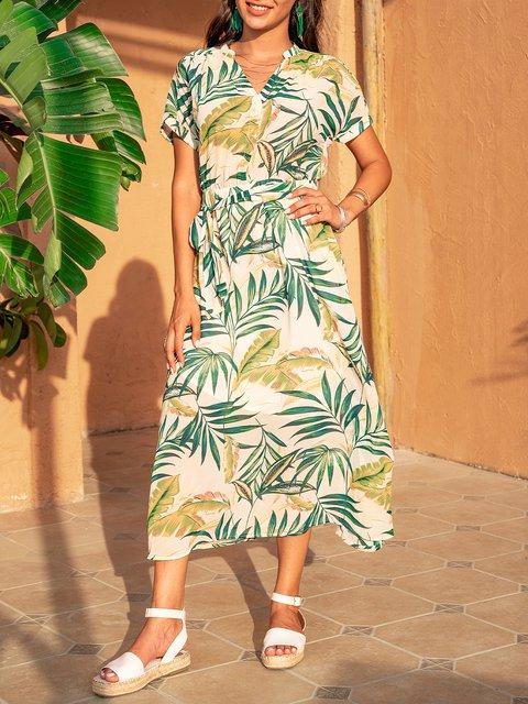 White V Neck Cotton-Blend Swing Short Sleeve Dresses