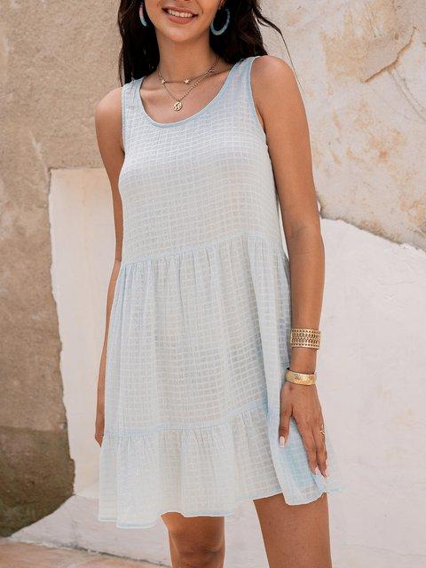 Blue Casual Paneled Checkered/plaid Cotton-Blend Dresses
