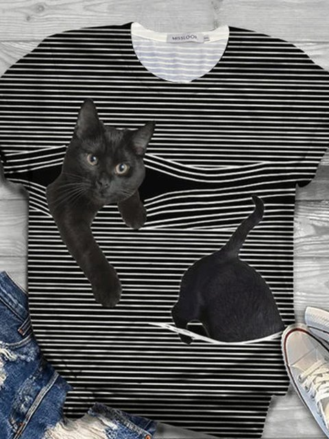 Cat Pattern Short Sleeve Striped Shirts & Tops