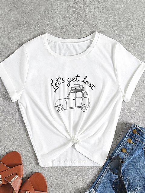 White Short Sleeve Printed Cartoon  Car Shirts & Tops