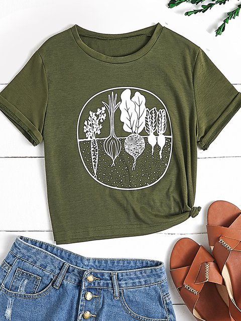 White Short Sleeve Printed Plants Cotton-Blend Shirts & Tops