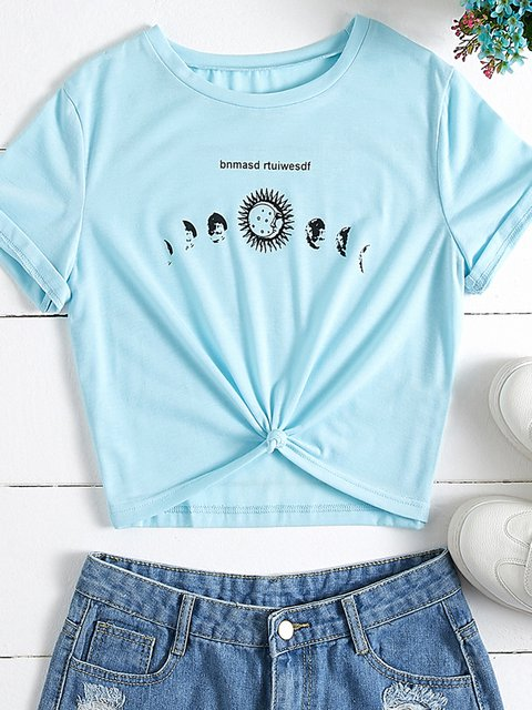 Blue Cotton-Blend Sun Printed Casual Crew Neck T-Shirts