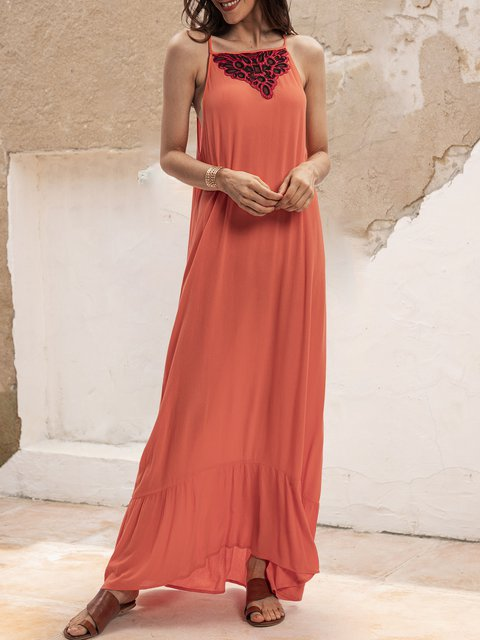 Orange Red Sleeveless Plain Casual Dresses
