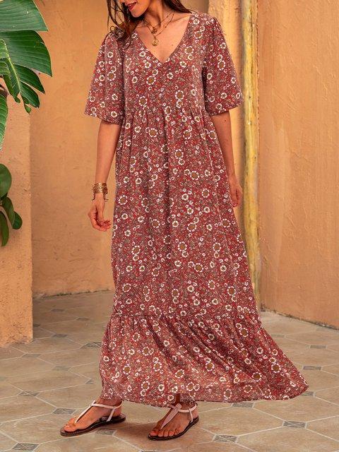 Orange Red Floral V Neck Short Sleeve Dresses