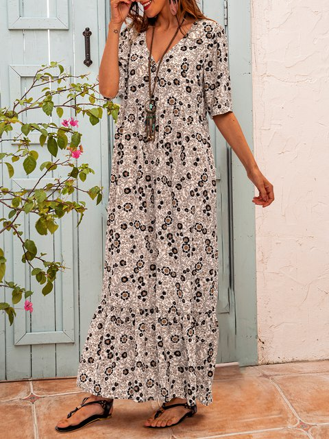 White V Neck Boho Cotton-Blend Short Sleeve Dresses