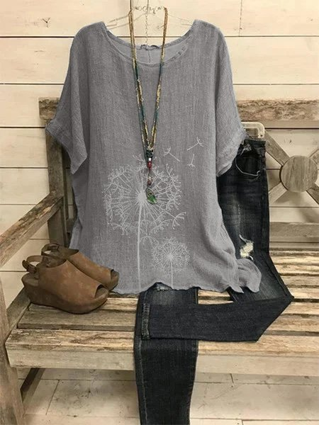 Gray Crew Neck Cotton Casual Shirts & Tops