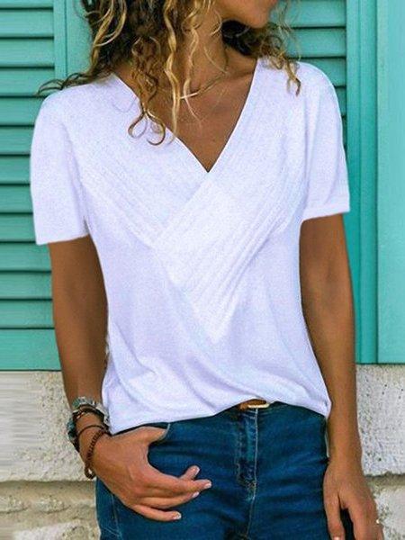 V Neck Short Sleeve Cotton T-Shirts