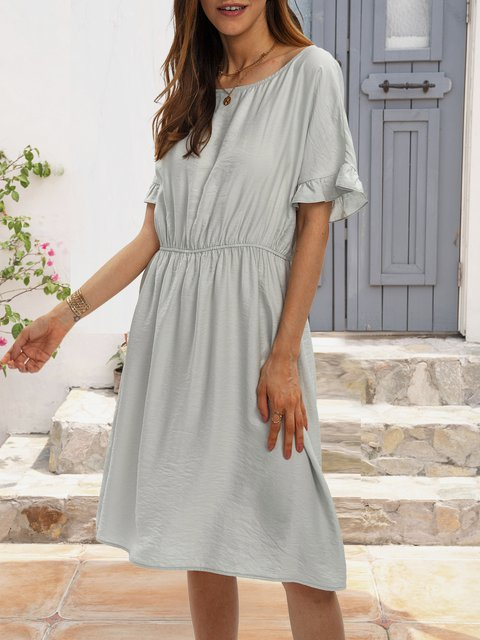 Gray Holiday Swing Plain Dresses