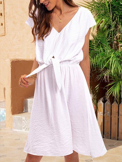 White Cotton-Blend Short Sleeve Dresses