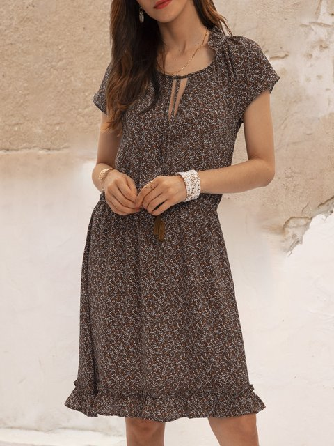 Coffee V Neck Short Sleeve Swing Printed Dresses