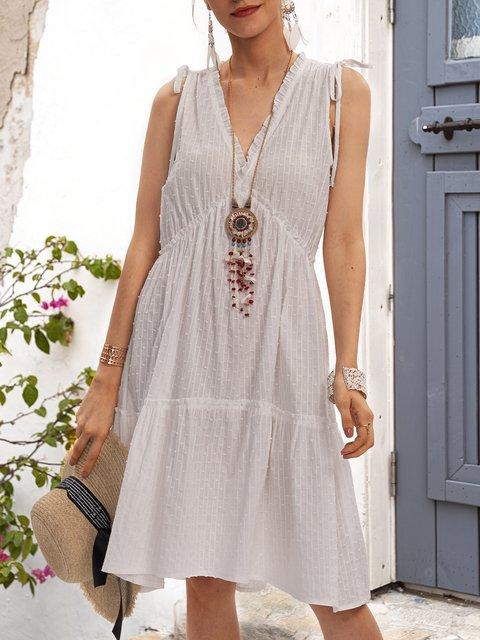 White Paneled Casual Short Sleeve Dresses