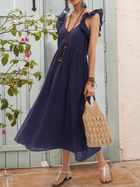 Blue Short Sleeve Swing Paneled Dresses