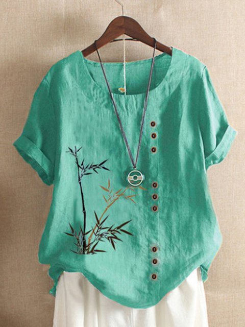 Floral-Print Bamboo Casual Shirts & Tops
