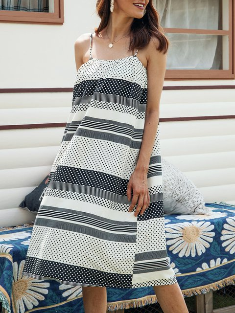White Cotton-Blend Holiday Paneled Striped Dresses
