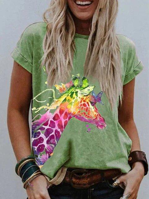 Plus Size Cotton-Blend Animal Shirts & Tops