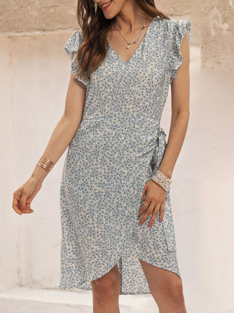 Blue Casual Floral Paneled Dresses