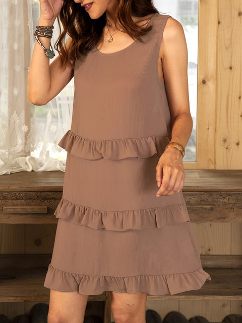 Apricot Sleeveless A-Line Cotton-Blend Plain Dresses