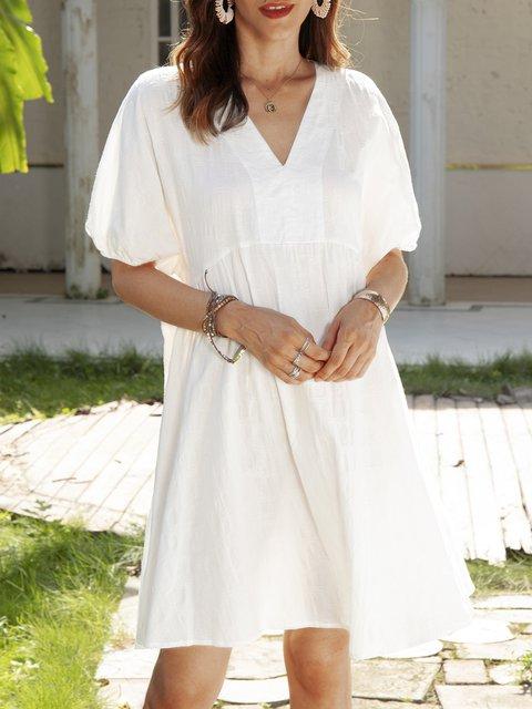 White Cotton-Blend Short Sleeve Plain Holiday Dresses