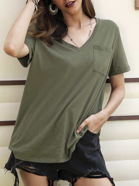 Green Paneled Plain Short Sleeve Shirts & Tops