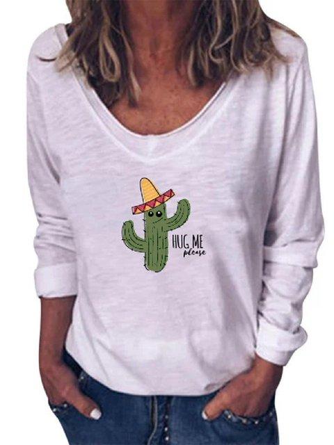 Floral-Print V Neck Long Sleeve Casual Shirts & Tops