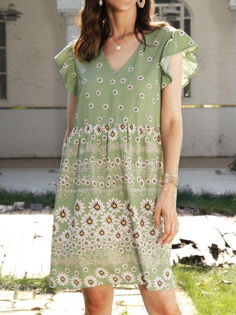 Green Cotton-Blend Floral V Neck Casual Dresses