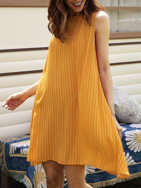 Yellow Sleeveless Casual Dresses