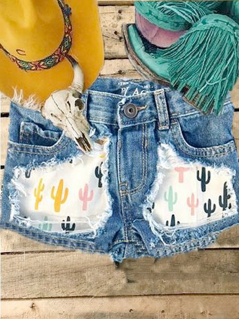 Casual western torn printed denim shorts