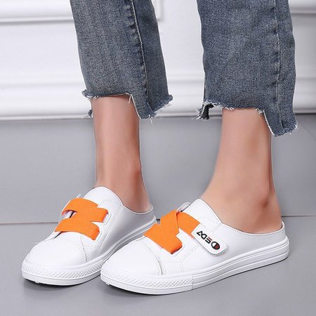 Summer Flat Heel Artificial Leather Slippers