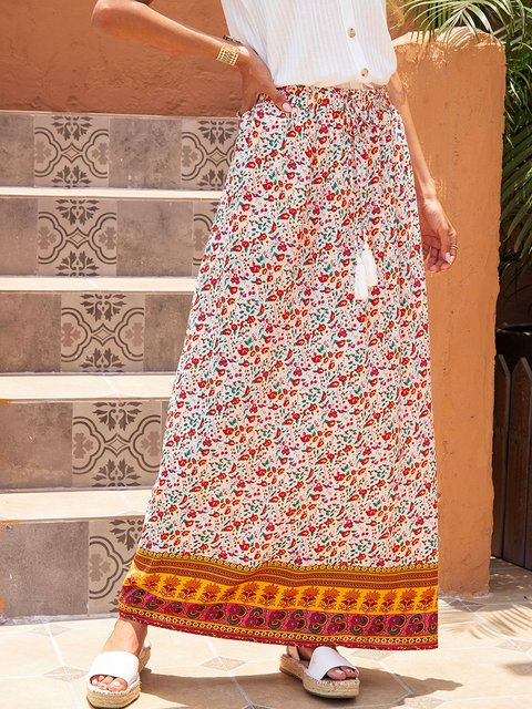 Yellow Casual Cotton-Blend Printed Floral Skirts