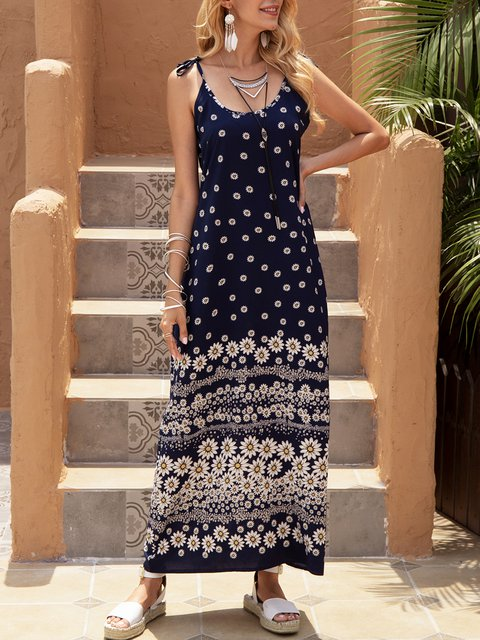 Blue A-Line Casual Printed Sleeveless Dresses