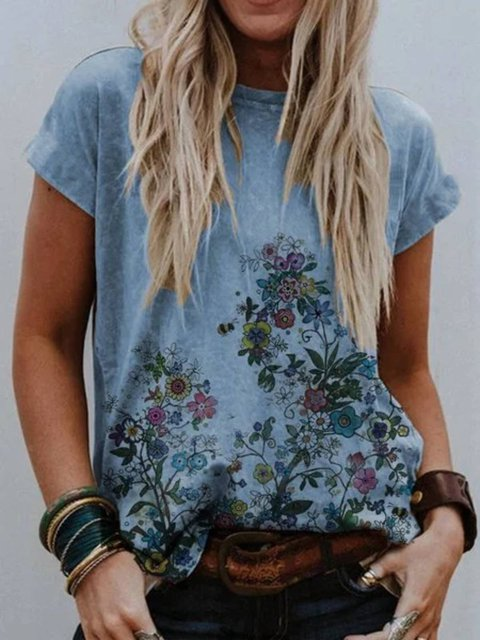 Floral-Print Crew Neck Short Sleeve Shirts & Tops