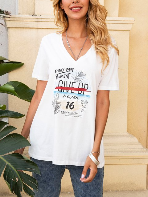 White V Neck Cotton-Blend Casual Short Sleeve Shirts & Tops