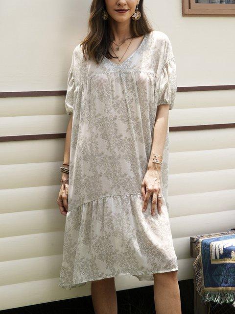 White Boho Floral Short Sleeve A-Line Dresses